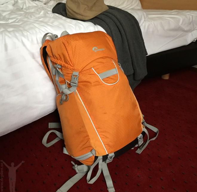 Mitt handbagage som ofta är mitt enda bagage. Rymmer lätt en uppsättning funktionskläder för träningspass.