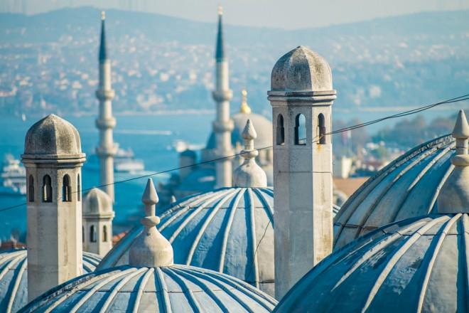 Taket på den blå moskén i Istanbul