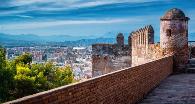 Utsikt över Malaga från det gamla fortet Gibralfaro
